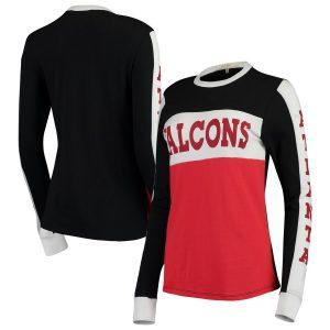 Atlanta Falcons Junk Food Women's Color Block Racer Long Sleeve T-Shirt