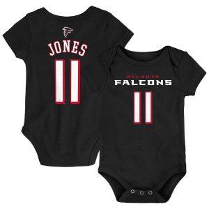 Newborn Atlanta Falcons Julio Jones Black Mainliner Name & Number Bodysuit