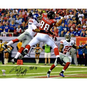 "Tony Gonzalez Atlanta Falcons Autographed 16″ x 20″ Photograph with ""HOF 19"" Inscription"