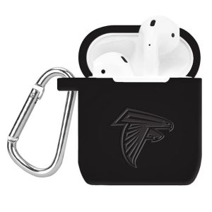 Atlanta Falcons Affinity Bands Black Debossed Silicone Air Pods Case Cover