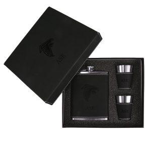 Atlanta Falcons Sparo Black Personalized Flask and Shot Glass Set