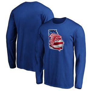 Men's Atlanta Falcons Royal Banner State Long Sleeve T-Shirt