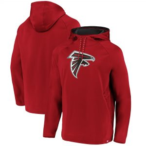 Men's Atlanta Falcons Red Iconic Embossed Defender Pullover Hoodie